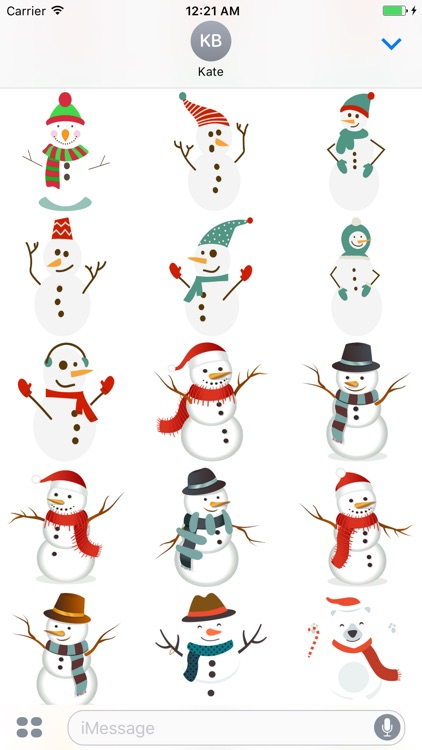Snowman Merry Christmas stickers for iMessage