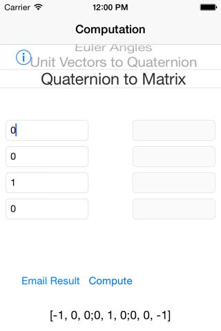 QuaternionCalc - náhled