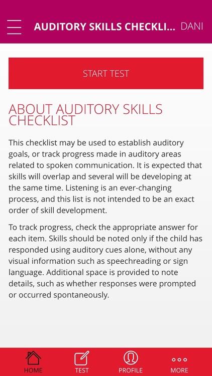 Auditory Skills Checklist