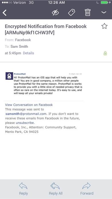 Screenshot 3 for ProtonMail's iPhone app'