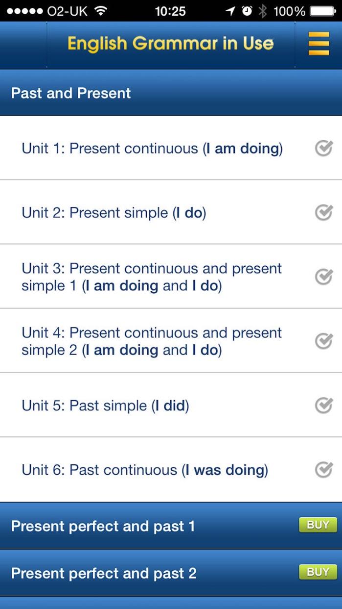 English Grammar in Use: Sample Screenshot