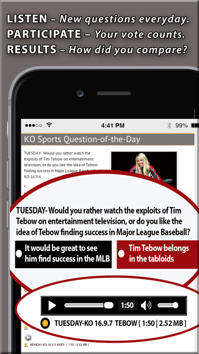 Radio Question of the Day: Sports, Food, Culture… screenshot two
