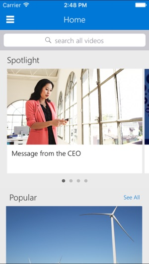 Office 365 Video für iPhone Screenshot