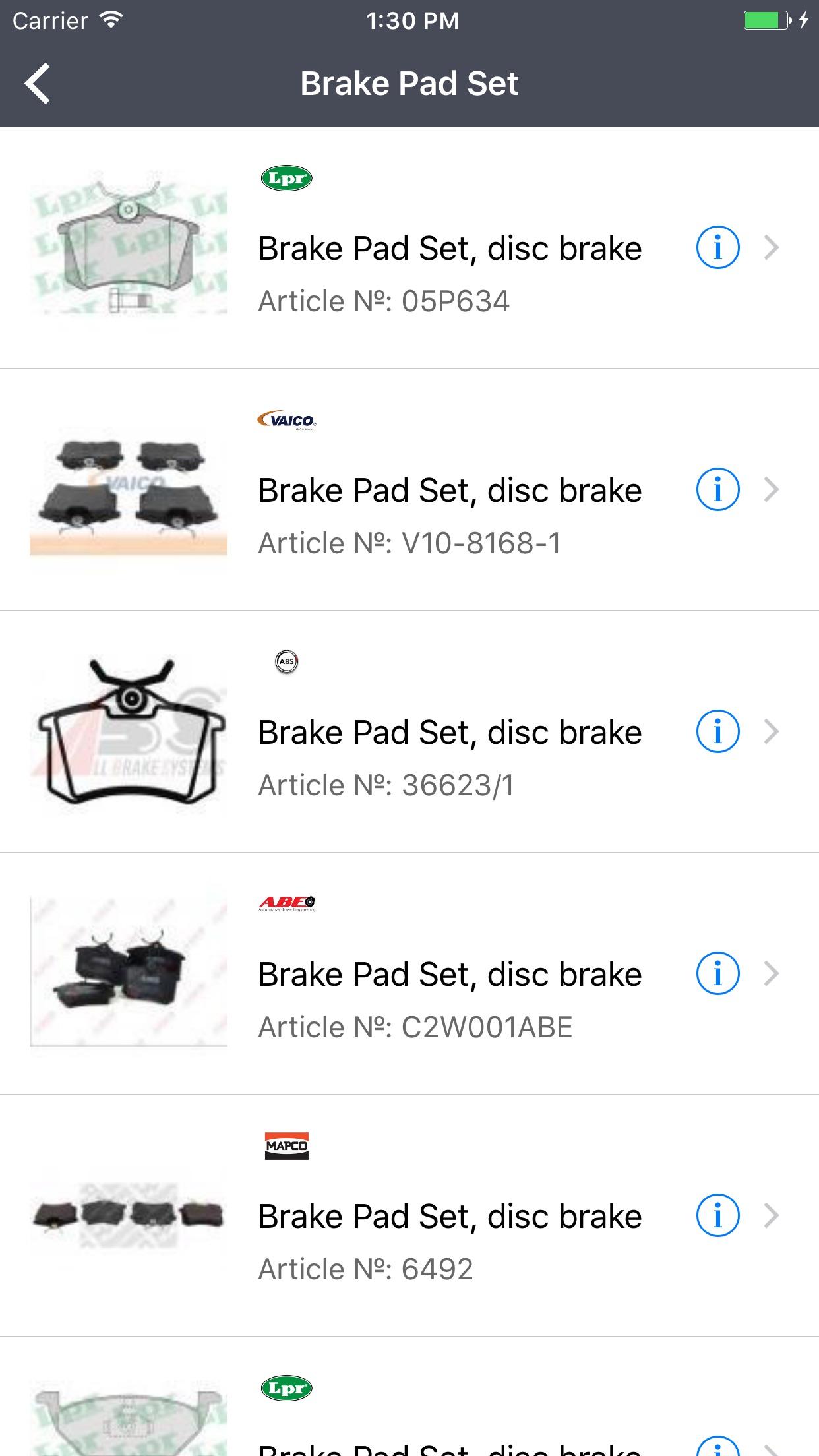 Car Parts for Seat - ETK, OEM Screenshot