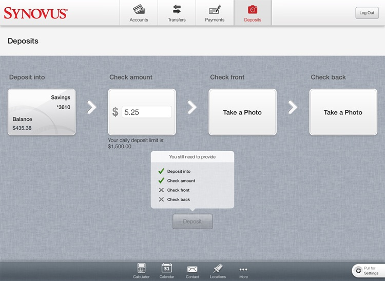 Synovus Mobile Banking for iPad