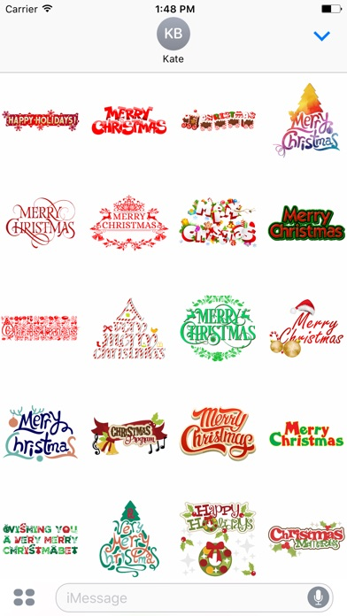 Merry Christmas Wish Typography Stickers-0