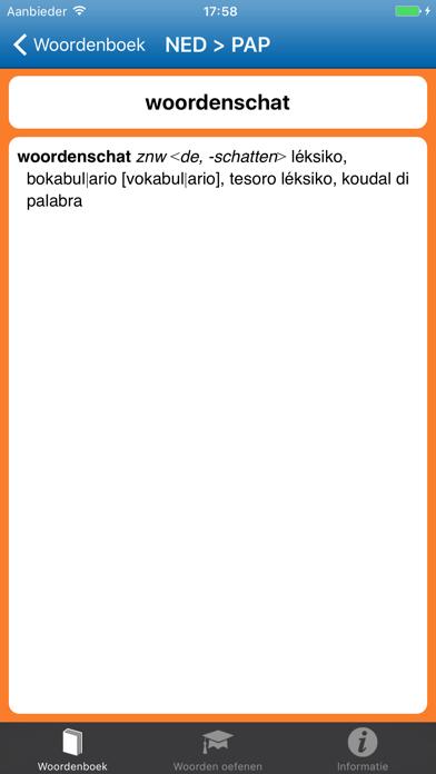 Woordenboek Papiaments   Nederlands > Papiaments screenshot three