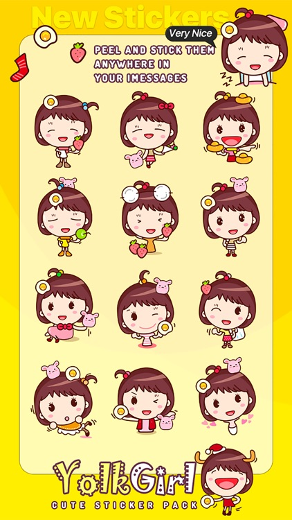 Yolk Girl Sticker - Cute Message Sticker Emoji screenshot-4