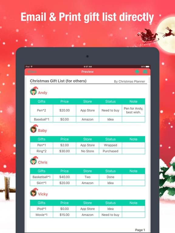 christmas planner gifts manager shopping list app price drops
