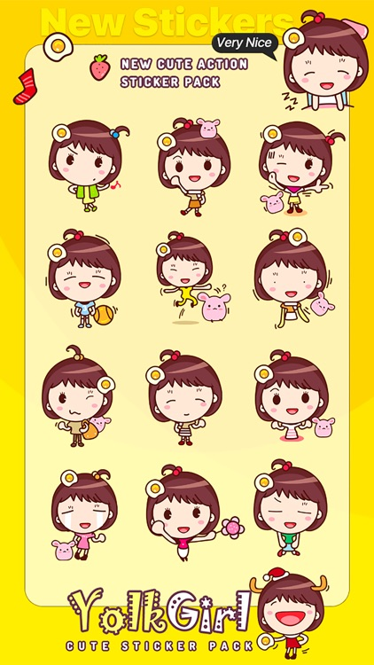 Yolk Girl Sticker - Cute Message Sticker Emoji screenshot-3