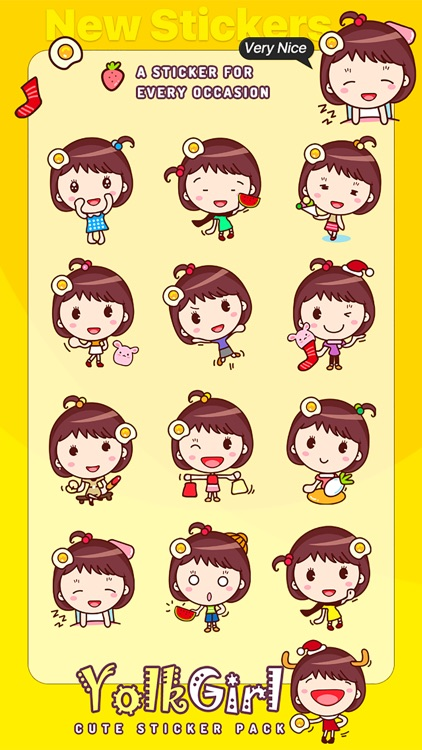 Yolk Girl Sticker - Cute Message Sticker Emoji