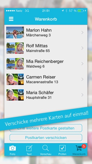 Urlaubsgruss Postkarten Screenshot