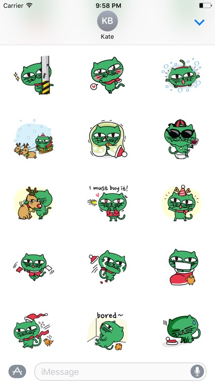 Greeny The Cat - Christmas stickers pack