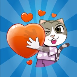 Cat Love Cute - Animated Sticker
