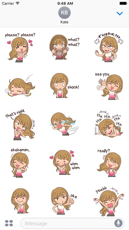 Cheerful Girl Sticker for iMessage by AMSTICKERS screenshot-3