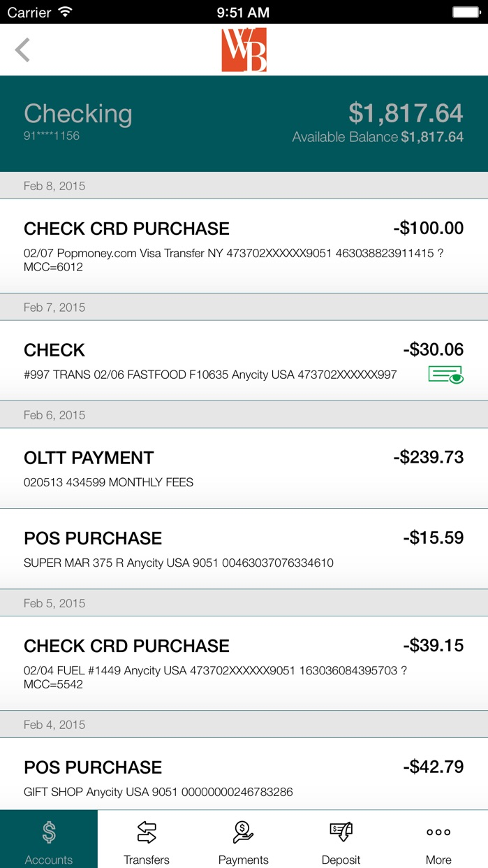 Westfield Bank for iPhone Screenshot