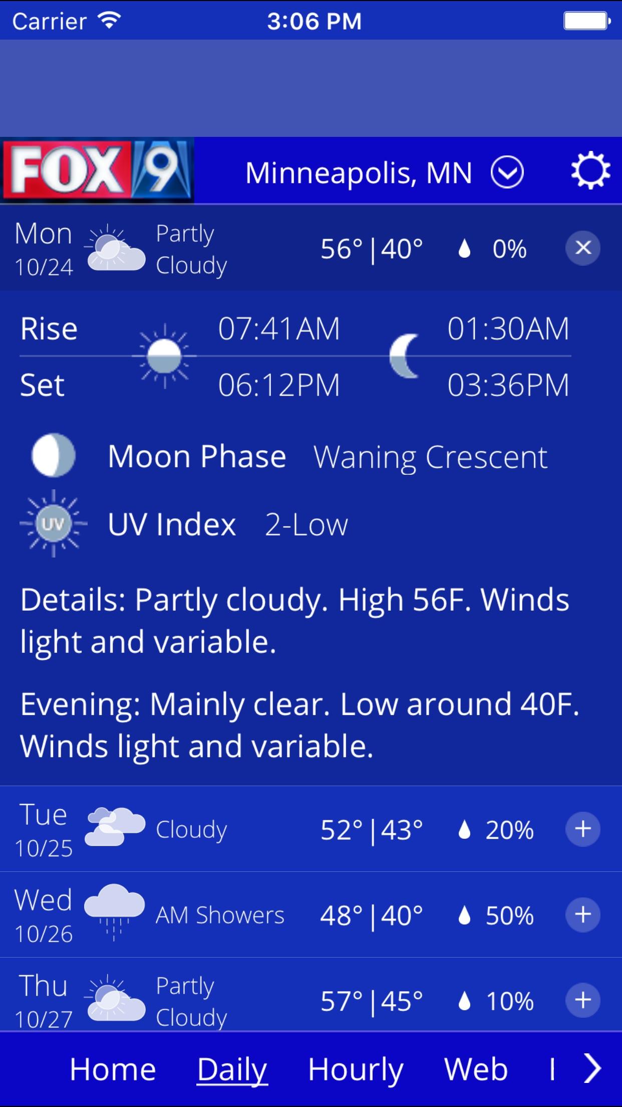 Fox 9 Weather Screenshot