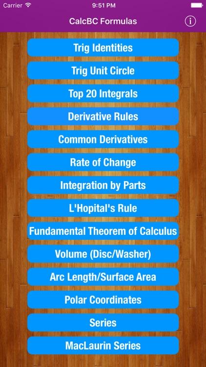 CalcBC Formulas