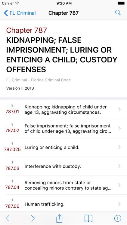 FL Criminal Code (LawStack's Florida Law/Statutes)