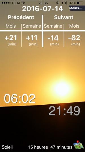 Le soleil lever et coucher dans l app store - Quelle heure se couche le soleil ...