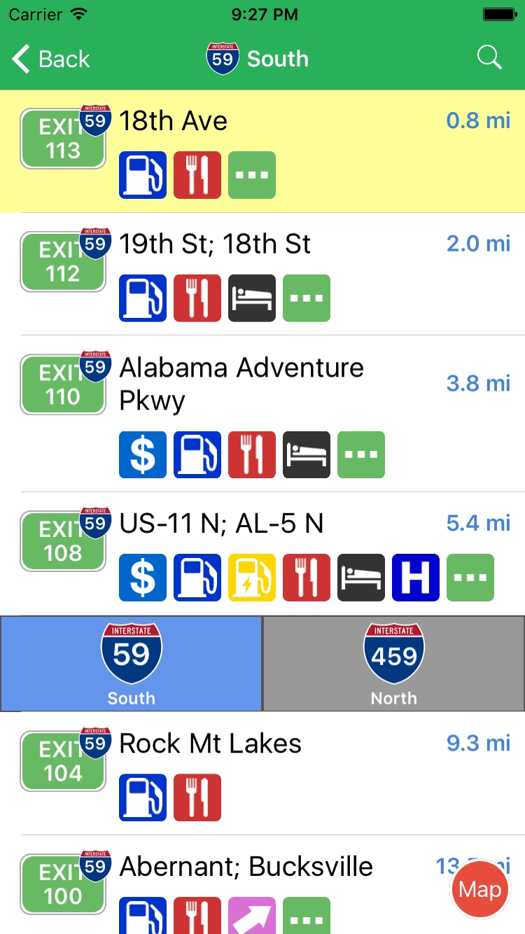 iExit Interstate Exit Guide Screenshot