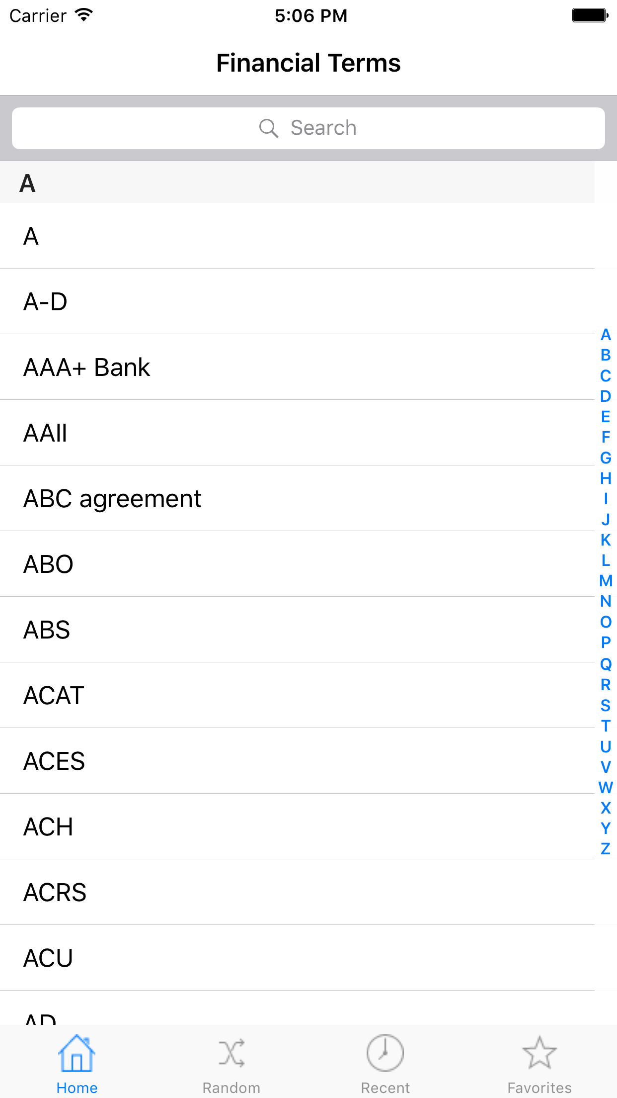 Financial Terms for iPad Screenshot