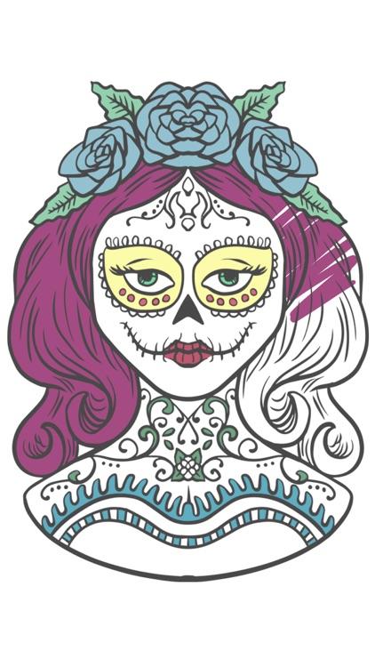 Sugar Mexican skull coloring for adults - Pro screenshot-4