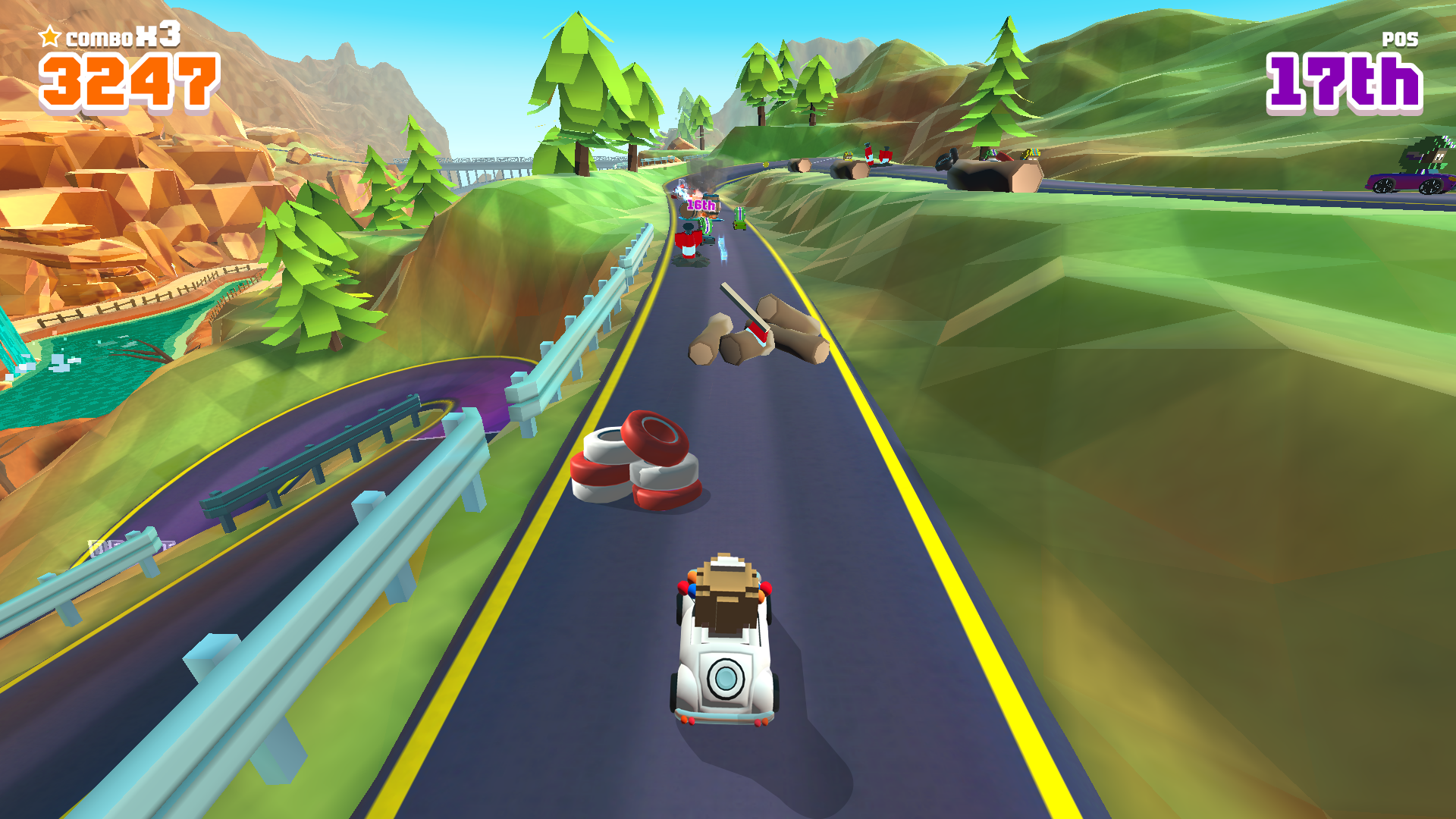 Blocky Racer - Endless Arcade Racing screenshot 15