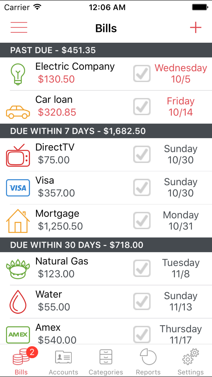 Bills Manager and Reminder Screenshot