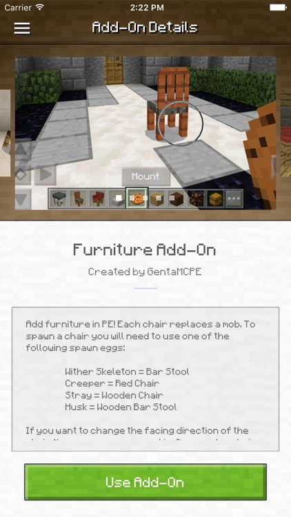 Furniture Add-On for Minecraft PE - Chairs!