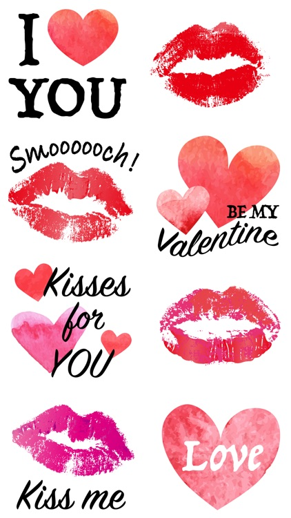Kiss & Heart Stickers