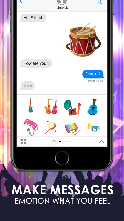 Music Emoji Stickers Keyboard Art Themes ChatStick