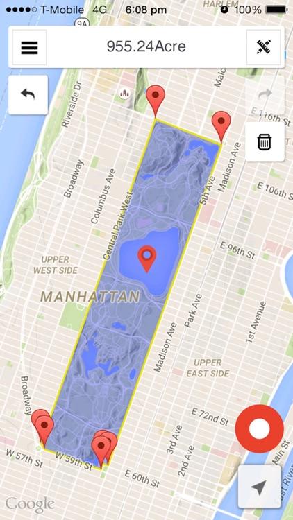 Map area & distance calculator
