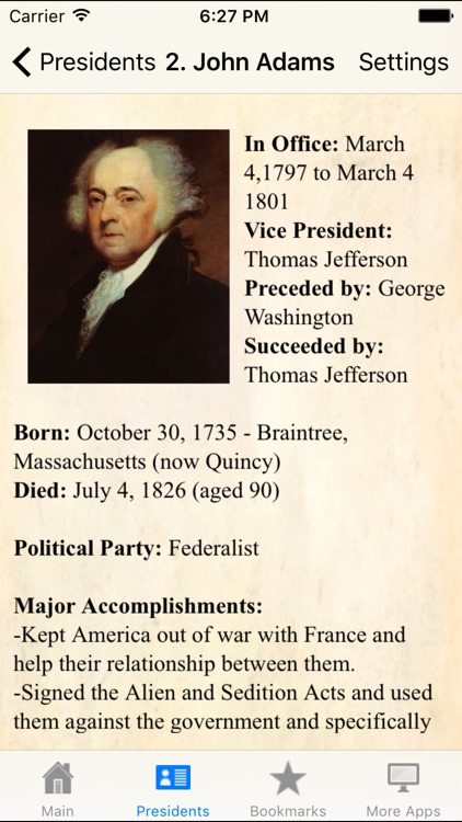 U.S.A. Presidents Pocket Reference Historic Guide screenshot-1