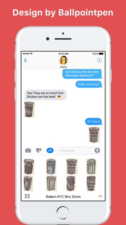 Ballpen NYC Bins Series stickers for iMessage
