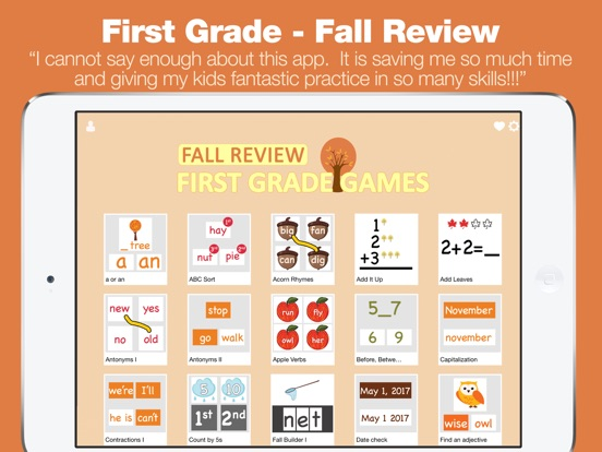First Grade Learning Games Fall Review App Apprecs