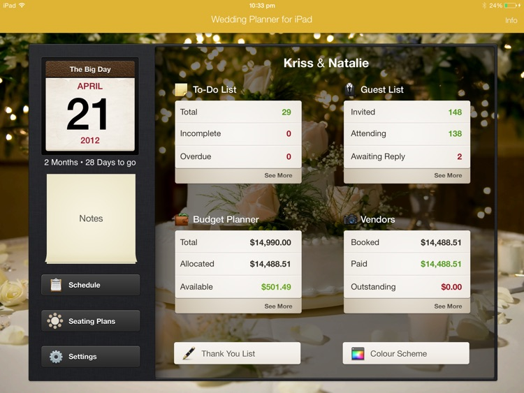 Wedding Planner for iPad screenshot-0