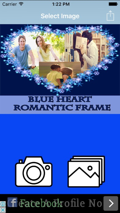 Blue Heart  Romantic Photo Frame screenshot one