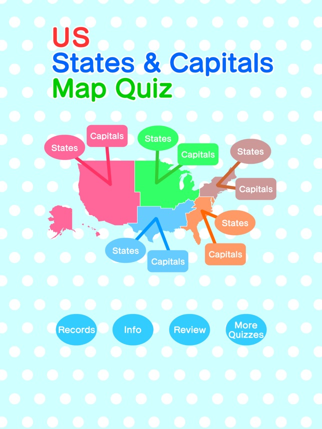 US States U0026 Capitals Map Quiz On The App Store