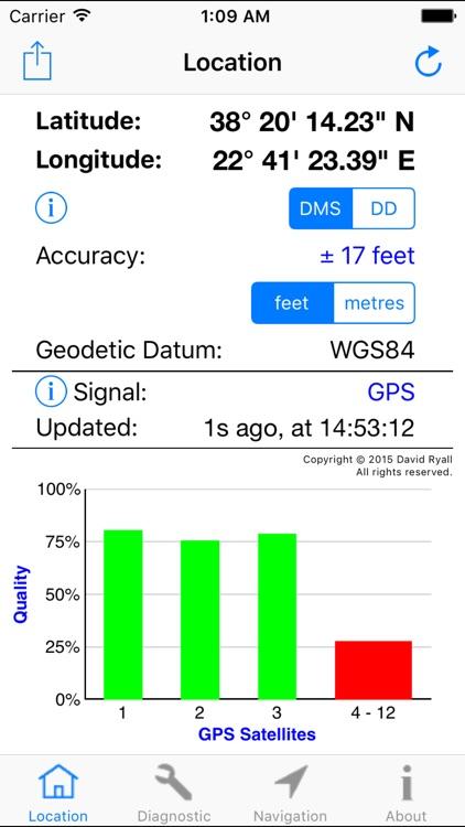 GPS Diagnostic - Satellite Test Tool & Coordinates screenshot-0
