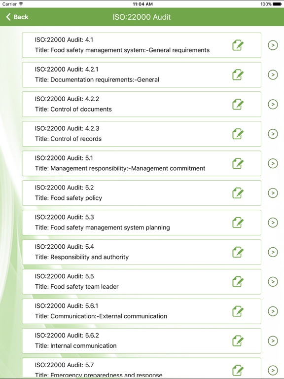 screenshot 2 for iso 22000 internal food safety audit