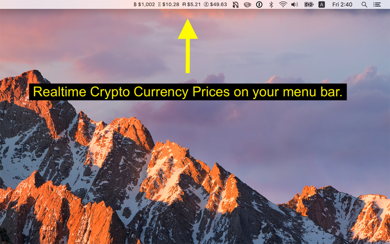 Coin Tick - Menu Bar Crypto Ticker for Mac