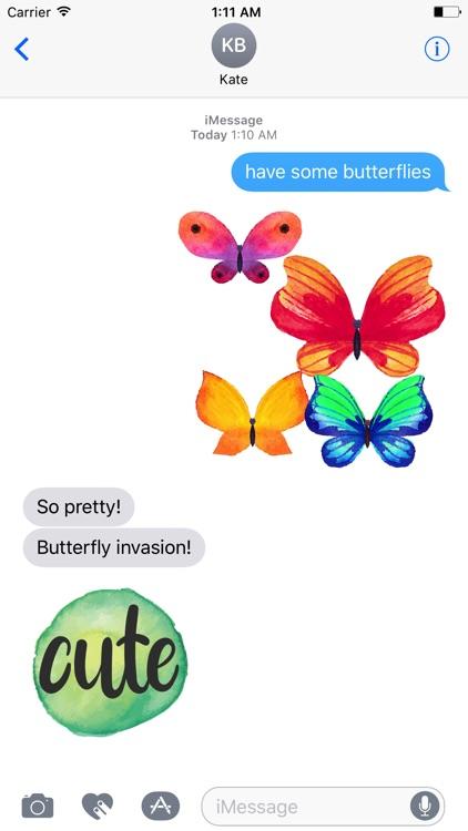 Watercolor Butterflies Sticker Pack screenshot-4