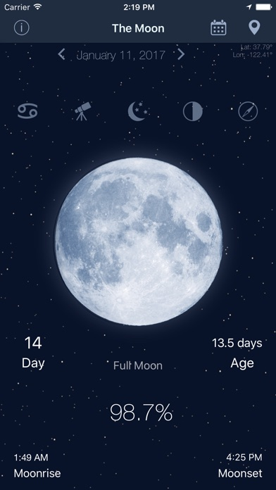 The Moon - Calendar phase of Moon free for Windows