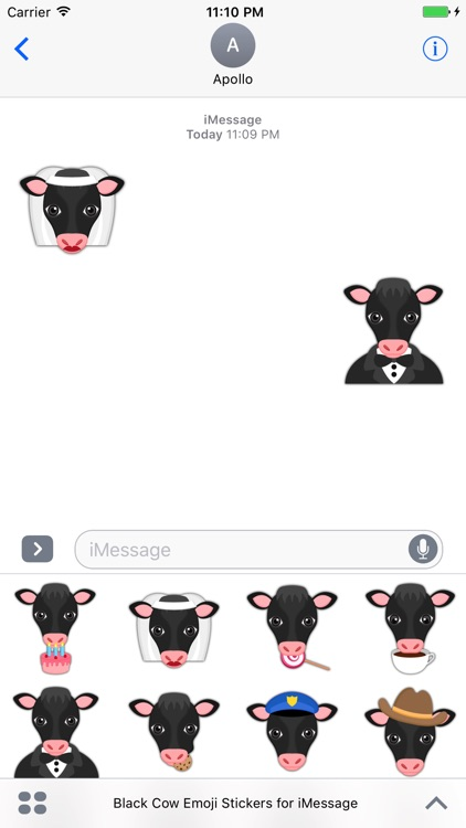 Black Cow Emoji Stickers for iMessage screenshot-4