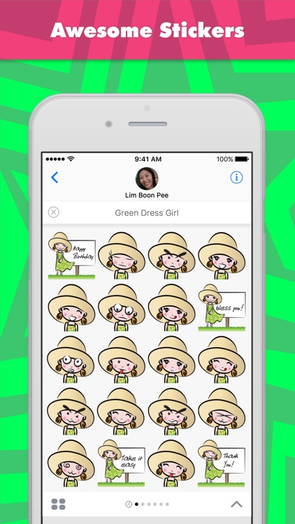 Green Dress Girl stickers by wenpei
