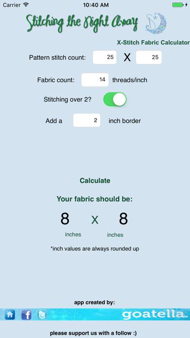Cross Stitch Fabric Calculator Pro review screenshots