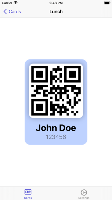 Lunch Card | ID Card Manager Screenshot