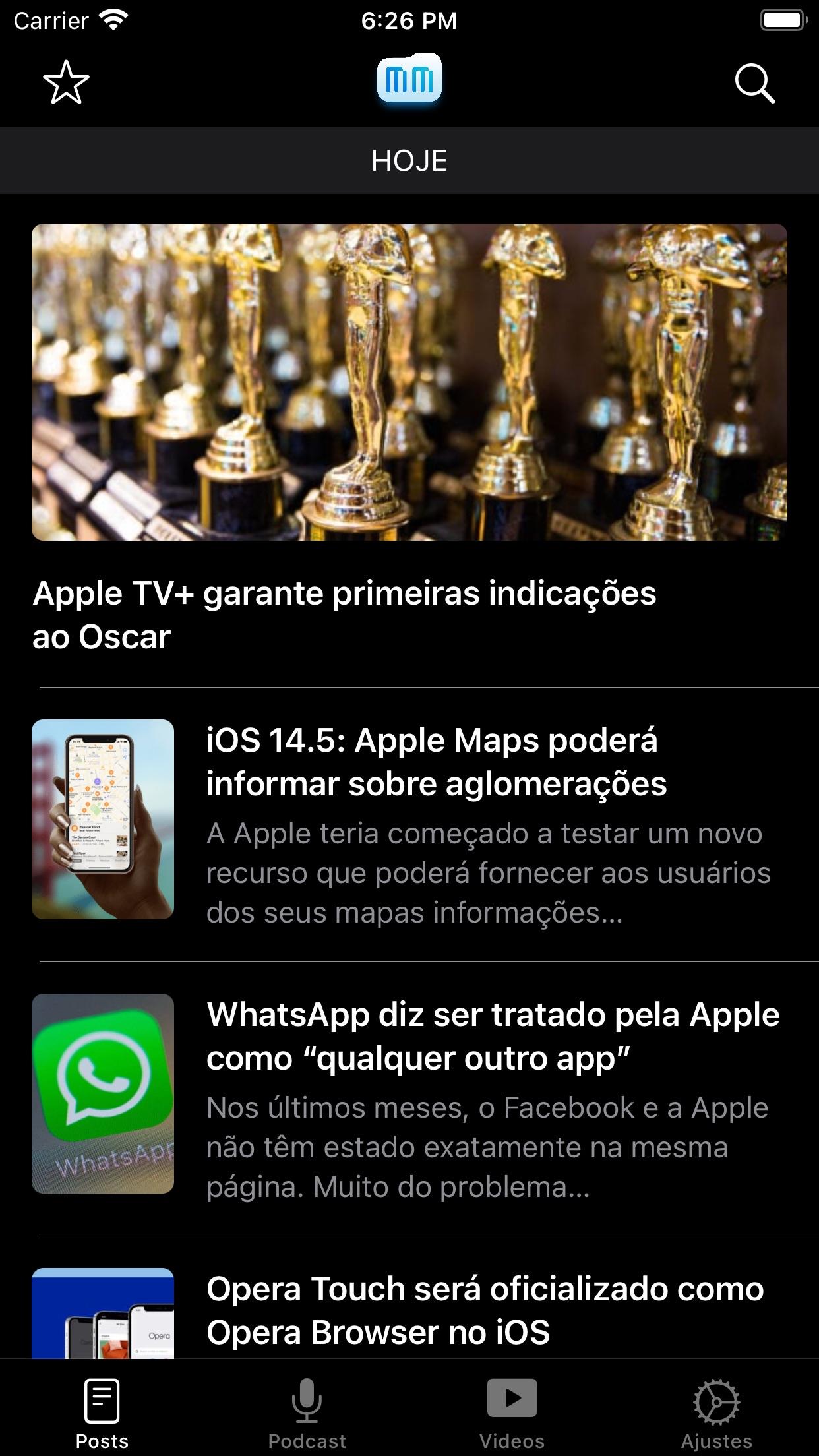 Screenshot do app MacMagazine