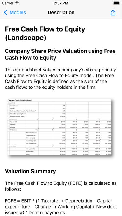 Finance Spreadsheet Models Screenshot